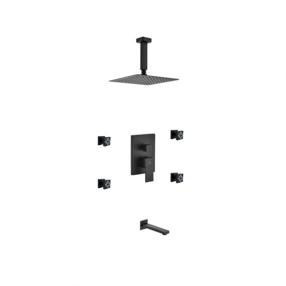 "Aqua Piazza Black Shower Set w/ 8"" Ceiling Mount Square Rain Shower, Tub Filler and 4 Body Jets"