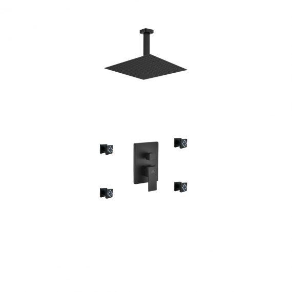 "Aqua Piazza Black Shower Set w/ 12"" Ceiling Mount Square Rain Shower and 4 Body Jets"