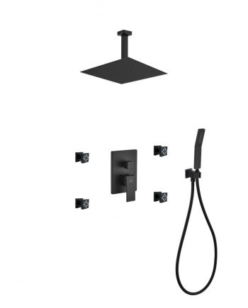 "Aqua Piazza Black Shower Set w/ 12"" Ceiling Mount Square Rain Shower, 4 Body Jets and Handheld"