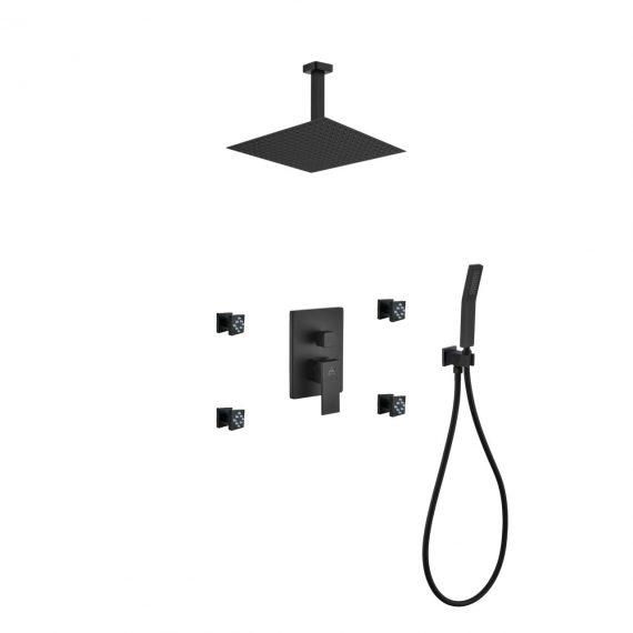 "Aqua Piazza Black Shower Set w/ 12"" Ceiling Mount Square Rain Shower, 4 Body Jets and Handheld"