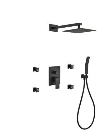 "Aqua Piazza Black Shower Set w/ 8"" Square Rain Shower, 4 Body Jets and Handheld"