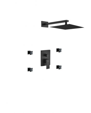"Aqua Piazza Black Shower Set w/ 12"" Square Rain Shower and 4 Body Jets"
