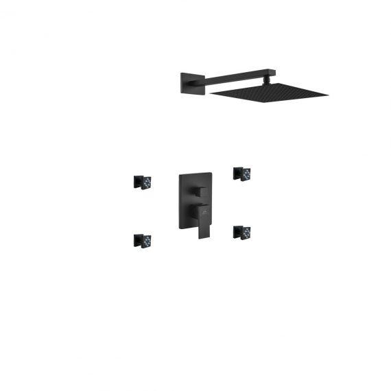 "Aqua Piazza Black Shower Set w/ 12"" Square Rain Shower and 4 Body Jets"