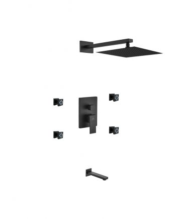 "Aqua Piazza Black Shower Set w/ 12"" Square Rain Shower, Tub Filler and 4 Body Jets"