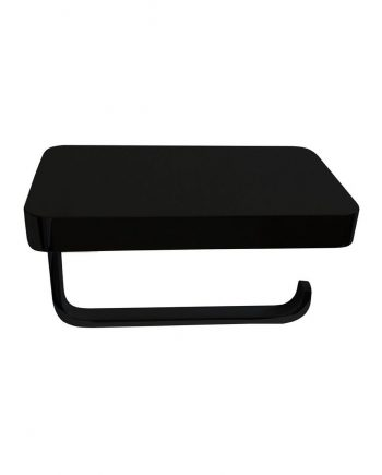 Aqua PLATO Black Toilet Paper Holder With Shelf