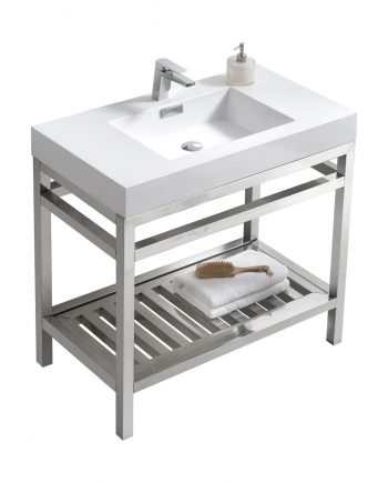 "Cisco 36"" Stainless Steel Console w/ White Acrylic Sink - Chrome"