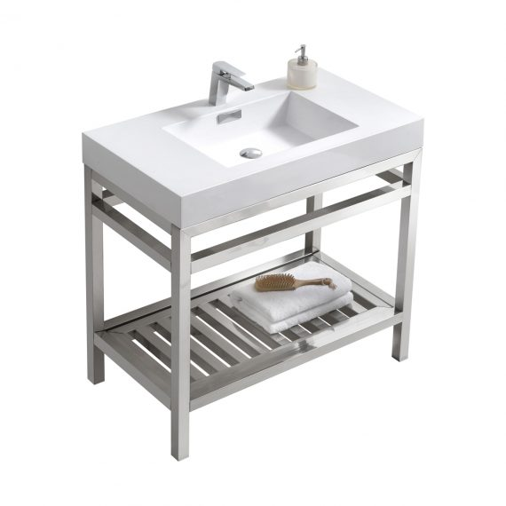 """Cisco 36"""" Stainless Steel Console w/ White Acrylic Sink - Chrome"""