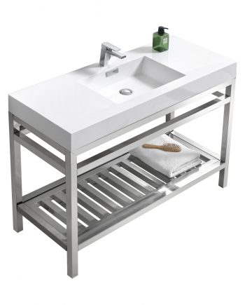 "Cisco 48"" Stainless Steel Console w/ White Acrylic Sink - Chrome"