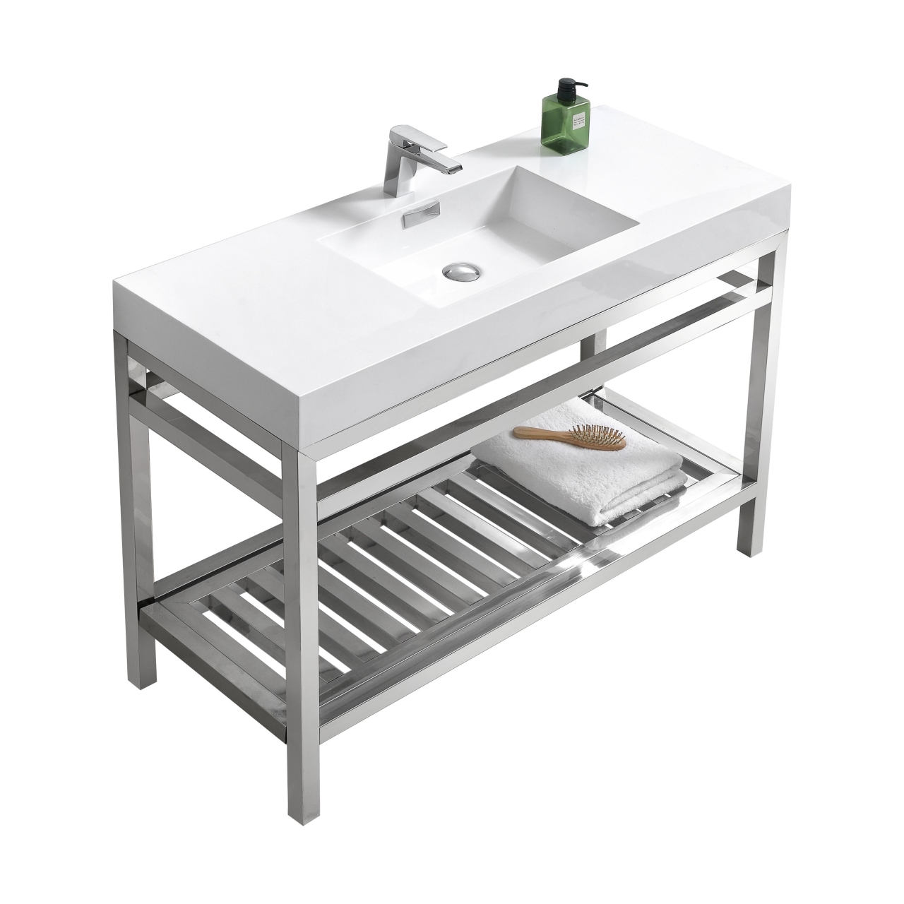 Cisco 48 Quot Stainless Steel Console W White Acrylic Sink