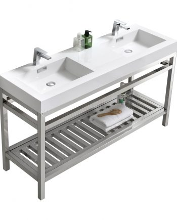 """Cisco 60"""" Double Sink Stainless Steel Console w/ White Acrylic Sink - Chrome"""