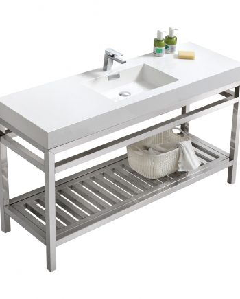 "Cisco 60"" Single Sink Stainless Steel Console w/ White Acrylic Sink - Chrome"