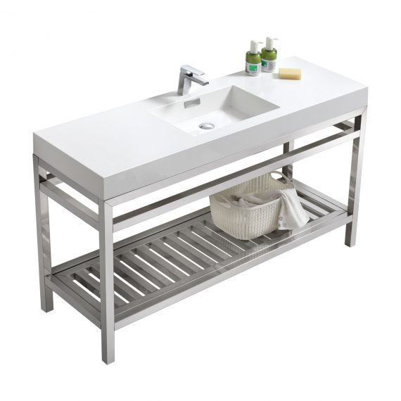 """Cisco 60"""" Single Sink Stainless Steel Console w/ White Acrylic Sink - Chrome"""