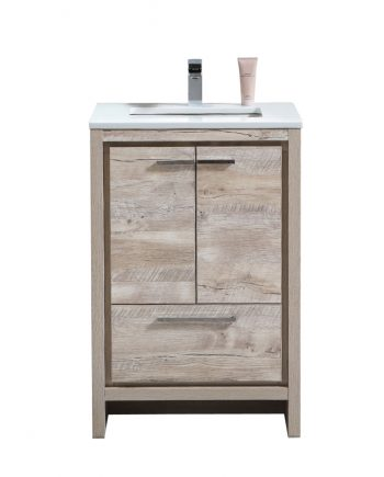 Dolce 24″ Nature Wood Modern Bathroom Vanity with White Quartz Countertop