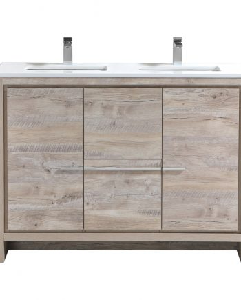Dolce 48″ Double Sink Nature Wood Modern Bathroom Vanity with White Quartz Countertop