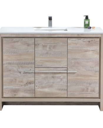 Dolce 48″ Nature Wood Modern Bathroom Vanity with White Quartz Countertop