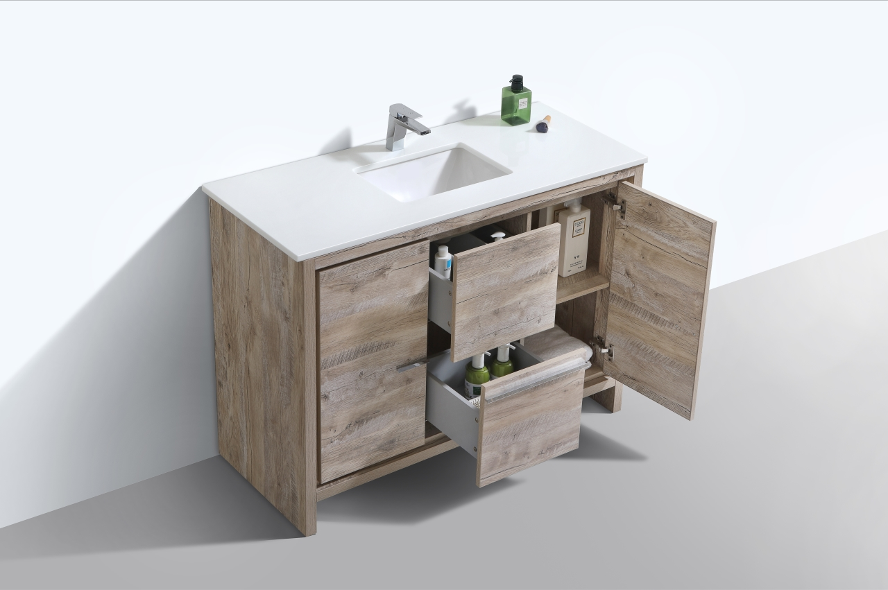 Dolce 48 Nature Wood Modern Bathroom Vanity With White