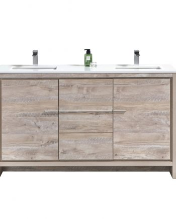 Dolce 60″ Double Sink Nature Wood Modern Bathroom Vanity with White Quartz Countertop