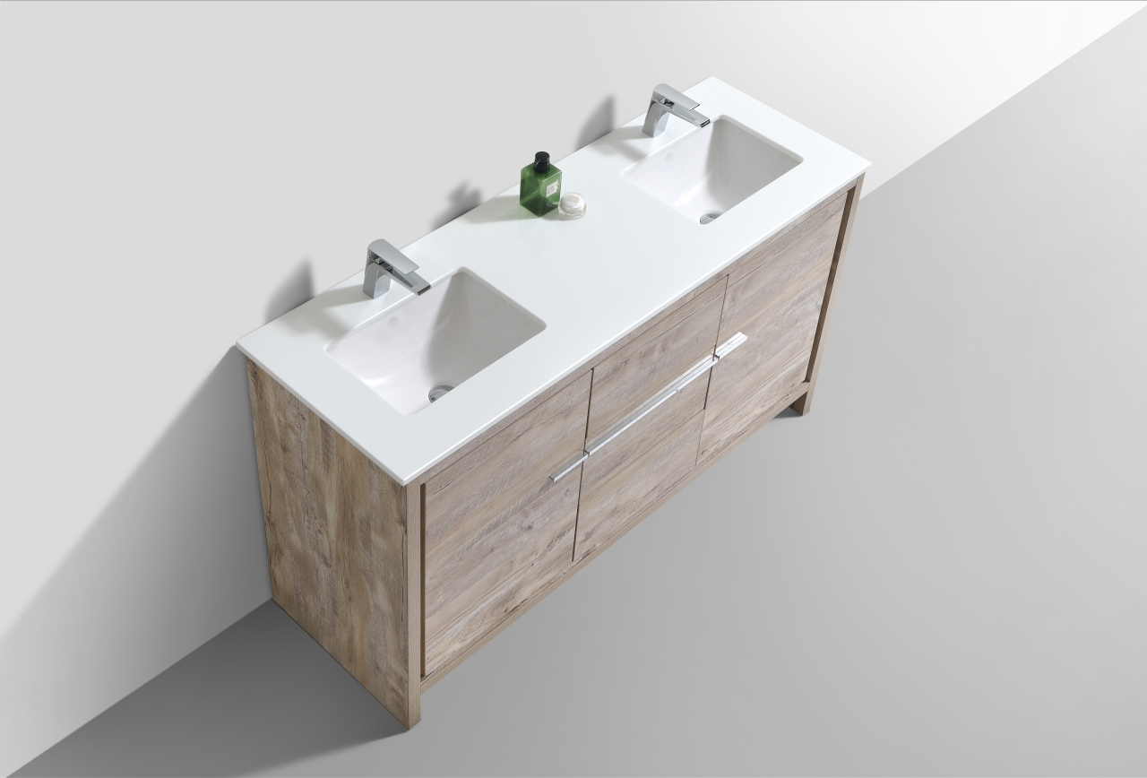 Dolce 60 Double Sink Nature Wood Modern Bathroom Vanity