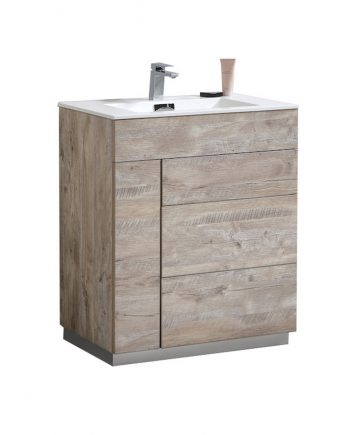 "Milano 30"" Nature Wood Floor Mount Modern Bathroom Vanity"