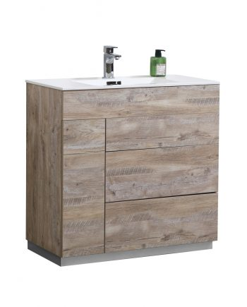 "Milano 36"" Nature Wood Floor Mount Modern Bathroom Vanity"