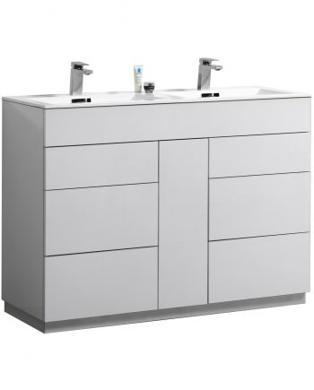 "Milano 48"" Double Sink High Gloss White Floor Mount Modern Bathroom Vanity"