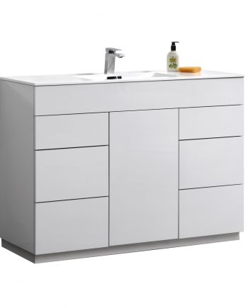 "Milano 48"" High Gloss White Floor Mount Modern Bathroom Vanity"