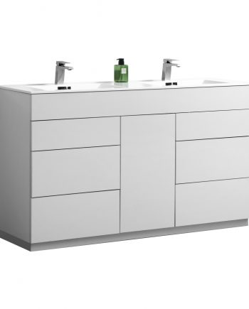 "Milano 60"" Double Sink High Gloss White Floor Mount Modern Bathroom Vanity"