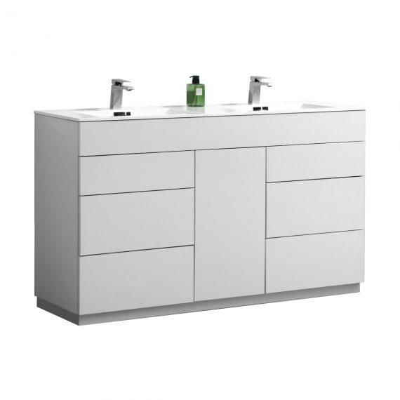 "Milano 60"" Double Sink High Gloss White Floor Mount Modern Bathroom Vanity"
