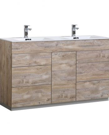 "Milano 60"" Double Sink Nature Wood Floor Mount Modern Bathroom Vanity"