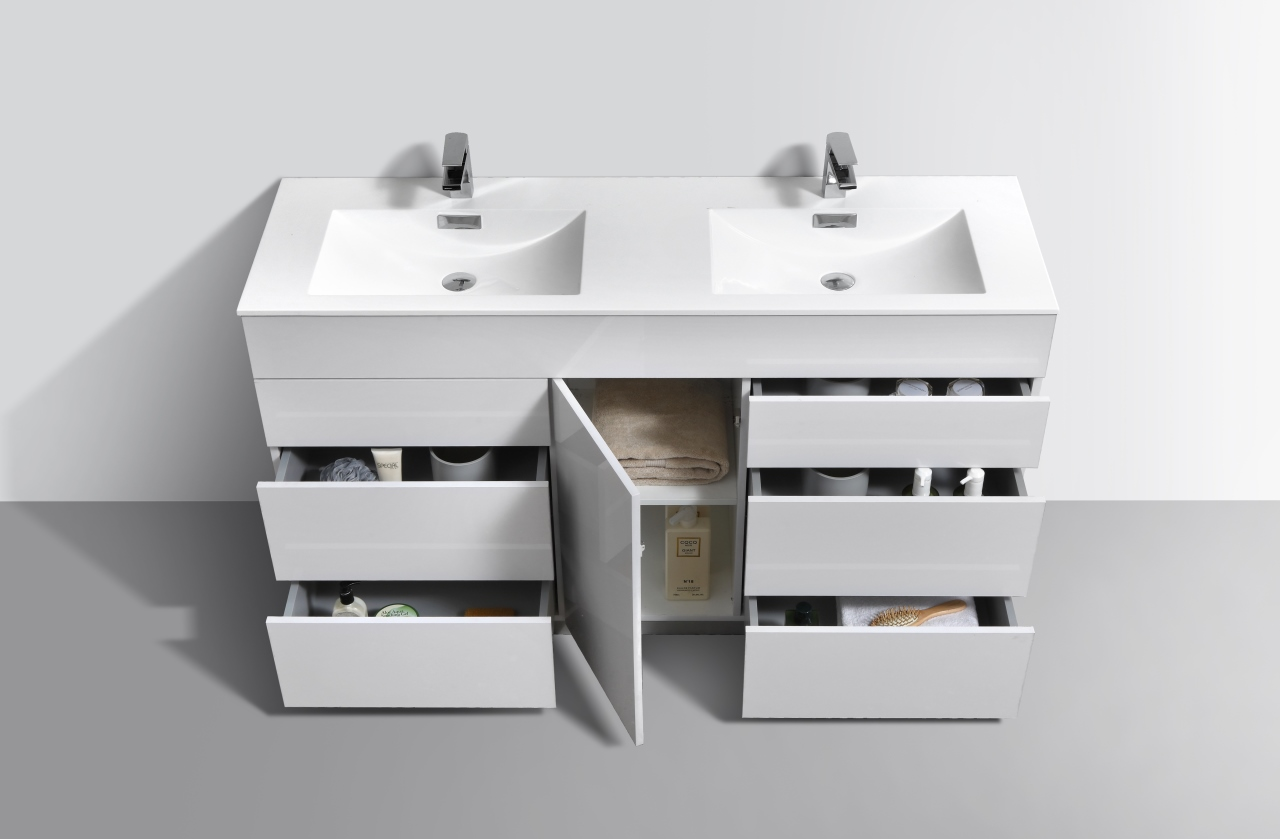 "Milano 60"" Double Sink High Gloss White Floor Mount Modern ..."