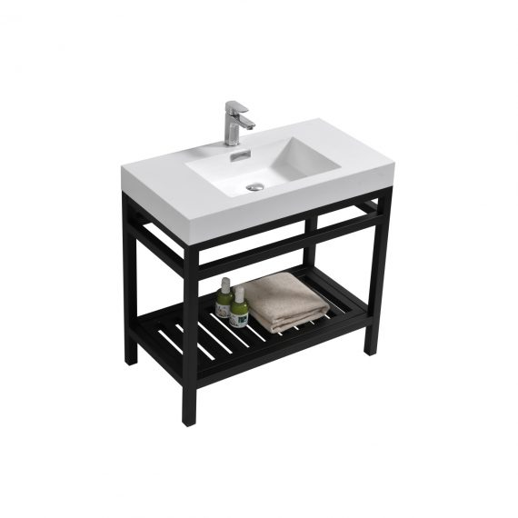 "Cisco 36"" Stainless Steel Console w/ White Acrylic Sink - Matte Black"