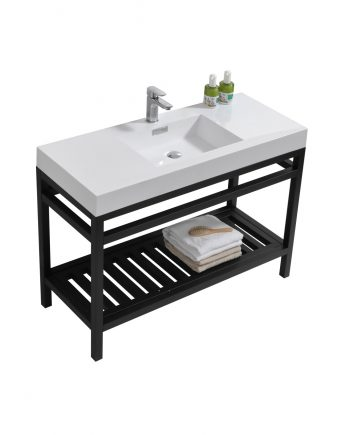 "Cisco 48"" Stainless Steel Console w/ White Acrylic Sink - Matte Black"
