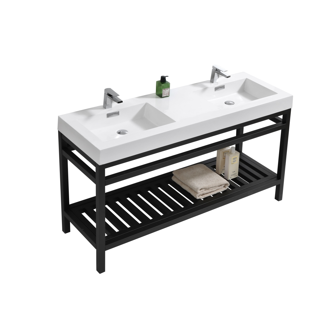 Cisco 60 Quot Double Sink Stainless Steel Console W White