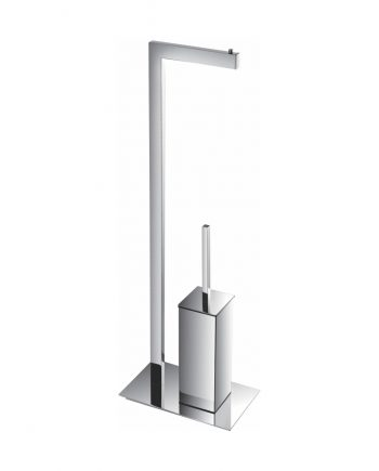 Aqua Piazza Free Standing Toilet Paper Holder With Toilet Brush - Chrome