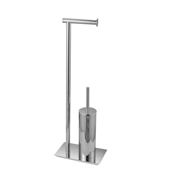 Aqua Rondo Free Standing Toilet Paper Holder W/ Toilet Brush - Chrome