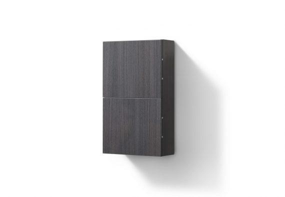 Bathroom High Gloss Gray Oak Linen Side Cabinet w/ 2 Storage Areas
