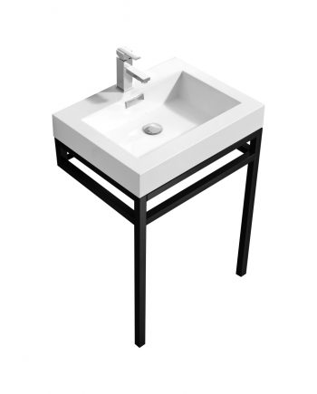 """Haus 24"""" Stainless Steel Console w/ White Acrylic Sink - Matte Black"""