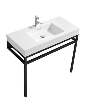 "Haus 36"" Stainless Steel Console w/ White Acrylic Sink - Matte Black"