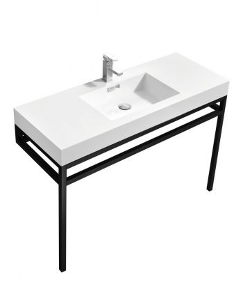 """Haus 48"""" Stainless Steel Console w/ White Acrylic Sink - Matte Black"""