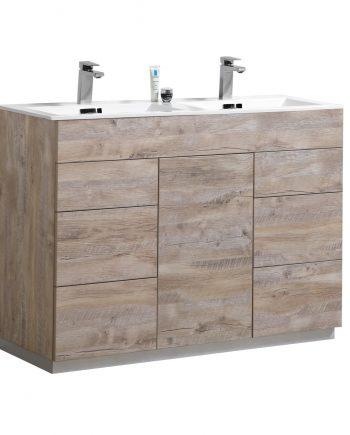 """Milano 48"""" Double Sink Nature Wood Floor Mount Modern Bathroom Vanity"""