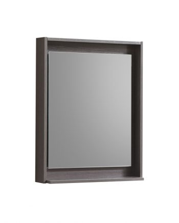 "24"" Wide Mirror w/ Shelf - Gray Oak"