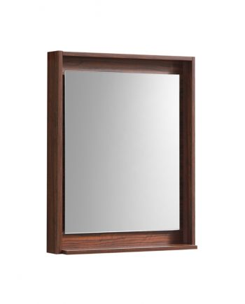 "30"" Wide Mirror w/ Shelf - Walnut"