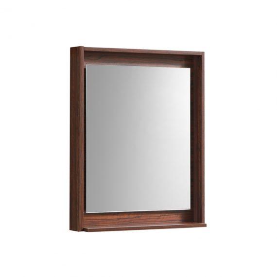 """30"""" Wide Mirror w/ Shelf - Walnut"""
