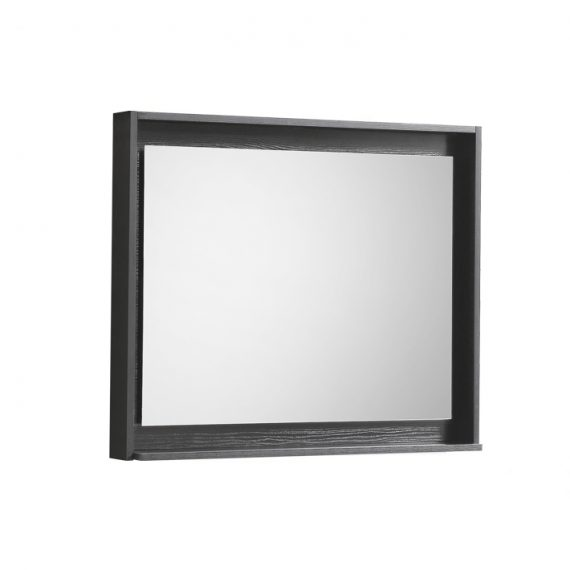 "30"" Wide Mirror w/ Shelf - Black"