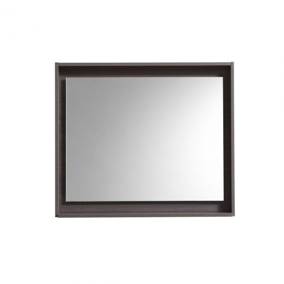 "30"" Wide Mirror w/ Shelf - Gray Oak"