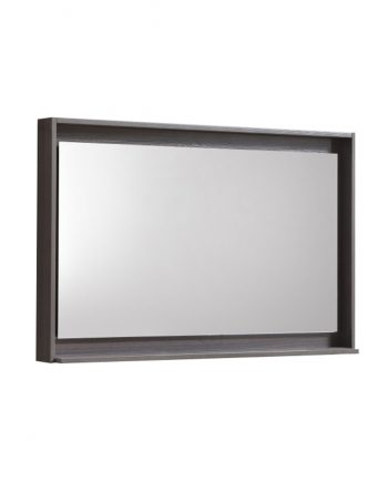 "36"" Wide Mirror w/ Shelf - Gray Oak"