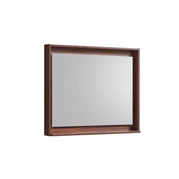 """36"""" Wide Mirror w/ Shelf - Walnut"""