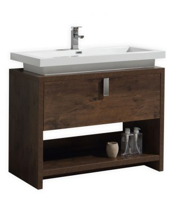 "Levi 40"" Rose Wood Modern Bathroom Vanity w/ Cubby Hole"