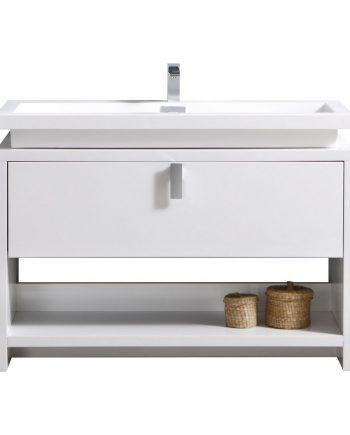 "Levi 48"" High Gloss White Modern Bathroom Vanity w/ Cubby Hole"