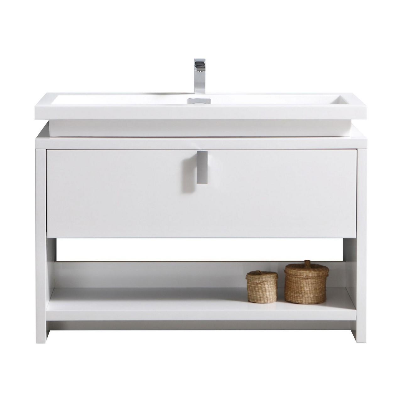 "Levi 48"" High Gloss White Modern Bathroom Vanity W/ Cubby"